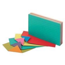 Oxford™ Extreme Index Cards, 3 x 5, Vivid Assorted, 100/Pack