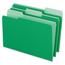Pendaflex® Colored File Folders, 1/3 Cut Top Tab, Legal, Green/Light Green, 100/Box