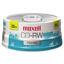 Maxell® CD-RW Discs, 700MB/80min, 4x, Spindle, Silver, 25/Pack