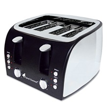 Coffee Pro 4-Slice Multi-Function Toaster with Adjustable Slot Width, Black/Stainless Steel
