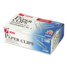 ACCO Premium Paper Clips, Smooth, #1, Silver, 100/Box, 10 Boxes/Pack