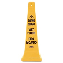 Rubbermaid® Commercial Four-Sided Caution, Wet Floor Yellow Safety Cone, 12 1/4 x 12 1/4 x 36h