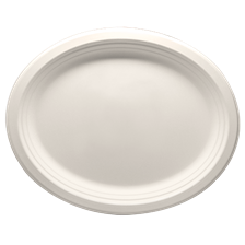 "12.5"" x 10"" Bagasse Plate, Oval, Ref#030"