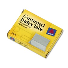 Avery® Gummed Index Tabs, 1 x 13/16, Gray, 50/Pack
