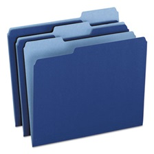 Pendaflex® Colored File Folders, 1/3 CutTop Tab, Letter, Navy Blue/Light Navy Blue, 100/Box