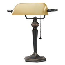 "Alera® Traditional Banker's Lamp, 16""High, Amber Shade with Antique Bronze Base"
