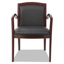 Alera® Alera Reception Lounge 500 Series Arch Solid Wood Chair, Mahogany/Black Leather