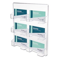 deflecto® Six-Pocket Wall Mount Business Card Holder, Holds 480 2 X 3 1/2 Cards, Clear