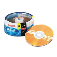 Maxell® DVD-R Discs, 4.7GB, 16x, Spindle, Gold, 15/Pack