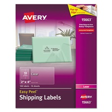 Avery® Clear Easy Peel Shipping Labels, Laser, 2 x 4, 100/Pack