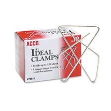"ACCO Ideal Clamps, Metal Wire, Large, 2 5/8"", Silver, 12/Box"