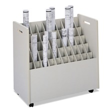 Safco® Laminate Mobile Roll Files, 50 Compartments, 30-1/4w x 15-3/4d x 29-1/4h, Putty