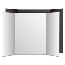 Eco Brites Too Cool Tri-Fold Poster Board, 36 x 48, Black/White, 6/PK