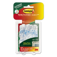Command™ All Weather Hooks and Strips, Plastic, Small, 32 Clips & 36 Strips/Pack