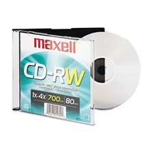 Maxell® CD-RW, Branded Surface, 700MB/80MIN, 4x