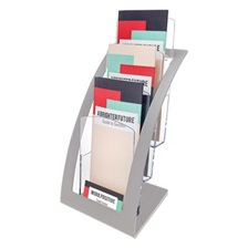 deflecto® Three-Tier Leaflet Holder, 6 3/4w x 6 15/16d x 13 5/16h, Silver