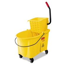 Rubbermaid® Commercial WaveBrake 44 Quart Bucket/Sideward Pressure Wringer Combination, Yellow