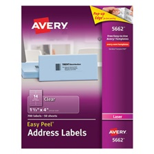 Avery® Clear Easy Peel Address Labels, Laser, 1 1/3 x 4, 700/Box