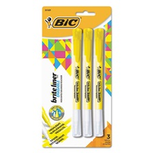 BIC® Brite Liner Erasable Highlighter, Chisel Tip, Fluorescent Yellow, 3/Pack