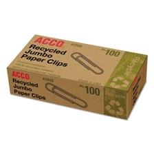 ACCO Recycled Paper Clips, Smooth, Jumbo, 100/Box, 10 Boxes/Pack