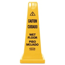 Rubbermaid® Commercial Four-Sided Caution, Wet Floor Safety Cone, 10 1/2w x 10 1/2d x 25 5/8h, Yellow