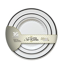 "Silver Splendor Party Pack, 7"" & 10"" Plates Combo (8+8) - BB507-WH"
