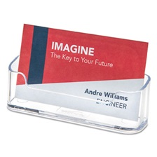 deflecto® Horizontal Business Card Holder, Holds 50 2 X 3 1/2 Cards, Clear