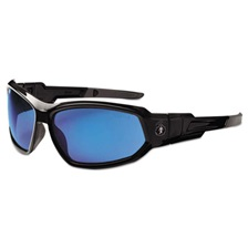 ergodyne® Skullerz Loki Safety Glass/Goggle, Black Frame/Blue Mirror Lens,Nylon/Polycarb