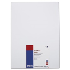 Epson® Cold Press Bright Fine Art Paper, 13 x 19, Bright White, 25 Sheets