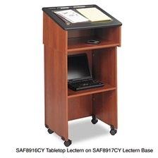 Safco® Lectern Base/Media Cart, 21-1/4w x 17-1/2d x 33-3/4h, Cherry