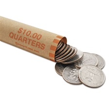MMF Industries™ Nested Preformed Coin Wrappers, Quarters, $10.00, Orange, 1000 Wrappers/Box