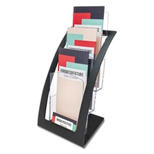 deflecto® Three-Tier Leaflet Holder, 6 3/4w x 6 15/16d x 13 5/16h, Black