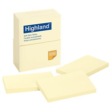 Highland™ Self-Stick Notes, 3 x 5, Yellow, 100-Sheet, 12/Pack