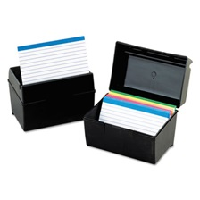 Oxford™ Plastic Index Card File, 400 Capacity, 6 1/2w x 4 7/8d, Black