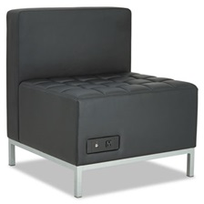 Alera® Alera QUB Series Powered Armless L Sectional, 26 3/8 x 26 3/8 x 30 1/2, Black