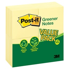 Post-it® Greener Notes Recycled Note Pads, 3 x 3, Canary Yellow, 100-Sheet, 24/Pack